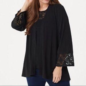 Susan Graver knit cardigan & tank with lace black